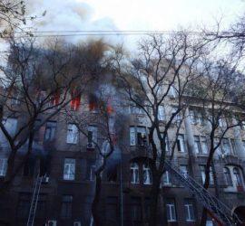 Страшный пожар в Одессе в колледже сняли с дрона