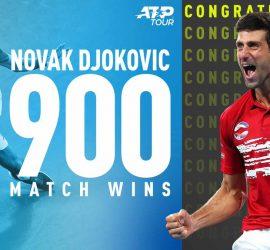 Теннисист Новак Джокович выиграл 900 матчей в карьере