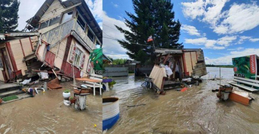 В Иркутской области река вышла с берегов и унесла дом