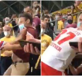 В Германии футболист набросился с кулаками на болельщика