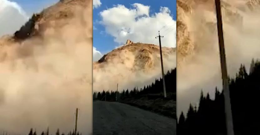 В Кыргызстане обвалилась гора